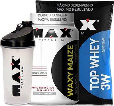 Combo Max Titanium (Top Whey 3w 1,8Kg + Waxy Maize 1Kg) + COQUETELEIRA GRÁTIS