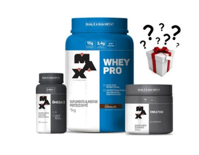 Kit Ganho de Massa Muscular - Whey Pro (1kg) + Creatina (100g)+ Ômega 3 (90caps) - Max Titanium + BRINDE GRÁTIS!