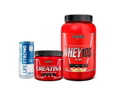 KIt Integral Medica (Whey 100% Pure + Creatina (150g)+ Lifestrong SURPRESA!