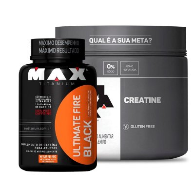 Kit Termogênico Ultimate Fire Black (60caps) + Creatina (100g) - Max Titanium