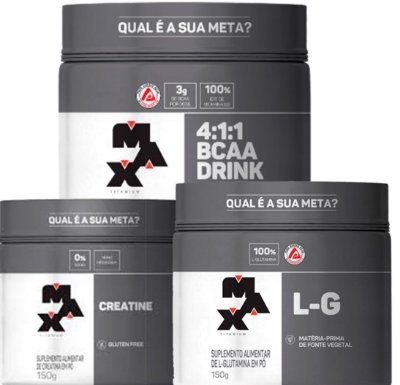 Kit Creatina (150g) + Glutamina (150g) + Bcaa Drink (280g) - Max Titanium