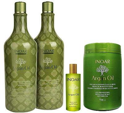 Kit Inoar Argan Oil Shampoo e Condicionador Litro + Máscara Hidratante 1kg + Óleo de Argan Sérum 60ml