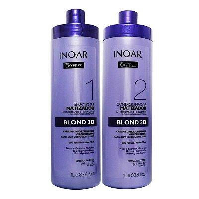 Inoar Oxyfree Kit Shampoo e Condicionador Matizador Blond 3D 1L