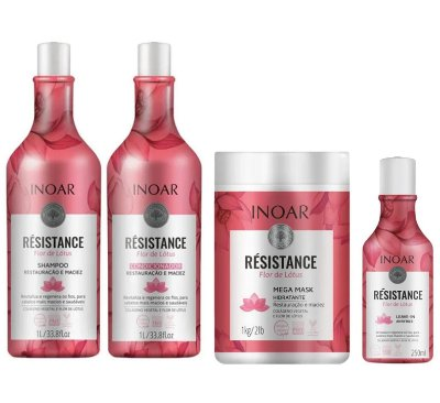Kit Inoar Résistance Flor de Lótus Shampoo, Condicionador, Máscara e Leave-in