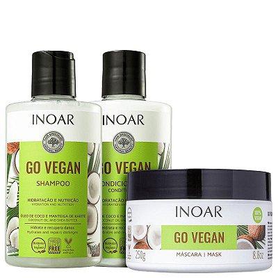 Kit Inoar Go Vegan Hidratação e Nutrição Shampoo, Condicionador e Máscara