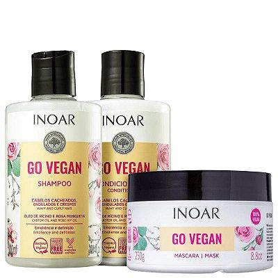Kit Inoar Go Vegan Cabelos Cacheados Shampoo, Condicionador e Máscara