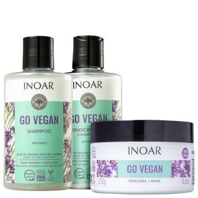 Kit Inoar Go Vegan Antifrizz Shampoo, Condicionador e Máscara