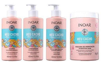 Kit Inoar Meu Cacho Meu Crush Shampoo, Condicionador, Creme de Pentear e Máscara