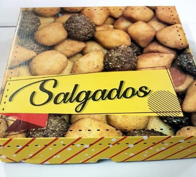 Caixa Papelao 20x20x05 Impressa Salgados c/25unids