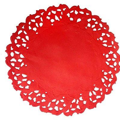 Toalha Rendada Papel Mago (Doilies) vermelha (11 cm) 50 unids