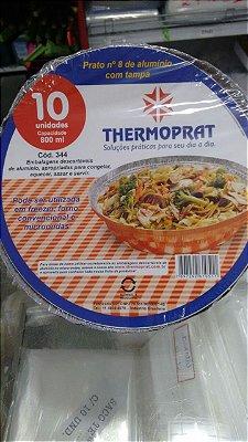 Marmitex aluminio nº09 1200ml Thermoprat tampa papelao 10 unids