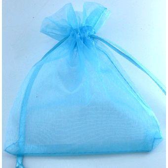Saco organza 15x18 azul bebe c/10 unids