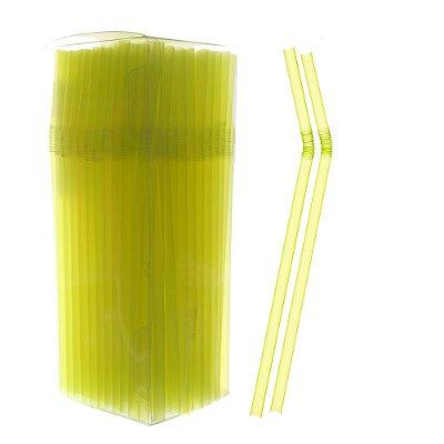 Canudo Neon Flexivel Amarelo 150 unids