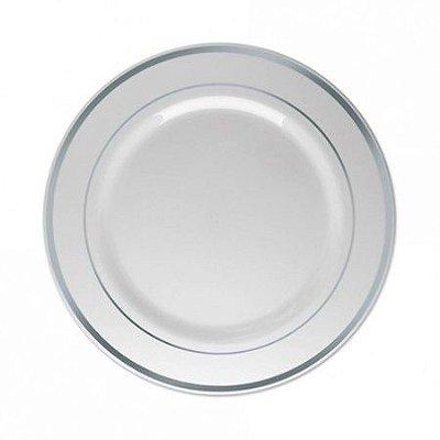 Prato Plastico Luxo 18cm Branco borda Prata 6 unids