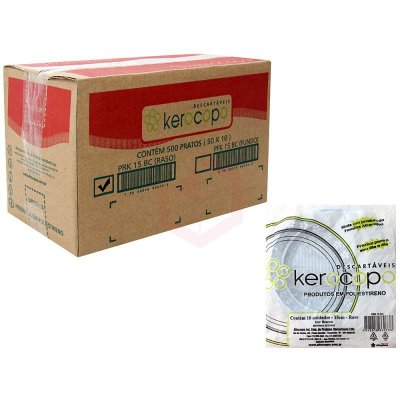 Prato Plastico 15cm Branco Kerocopo 500 unids