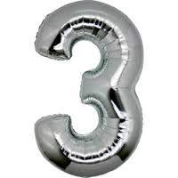 Balão Metalizado nº3 Prateado 32cm unid