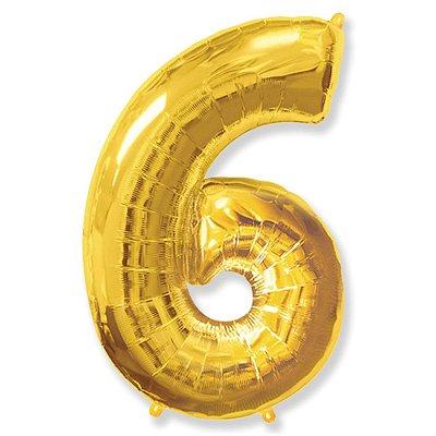 Balão Metalizado nº6 Dourado 32cm unid