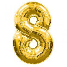 Balão Metalizado nº8 Dourado 32cm unid