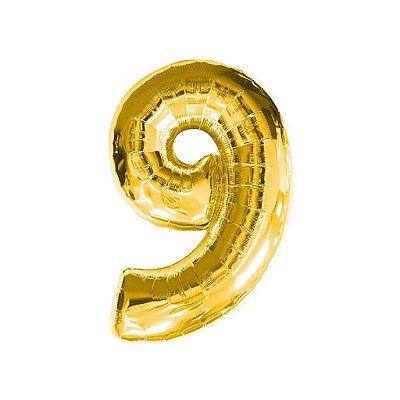 Balão Metalizado nº9 Dourado 32cm unid