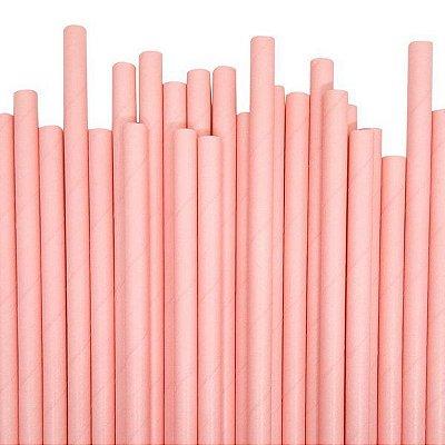 Canudo Papel 19cmx5mm Rosa Claro 20 unids