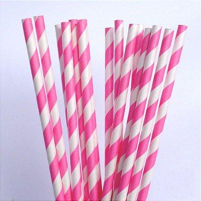 Canudo Papel 19cmx5mm LIstrado Pink 20 unids