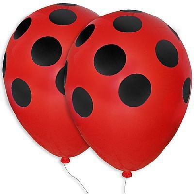 Balão nº11 Poá Vermelho/Preto 25 unids