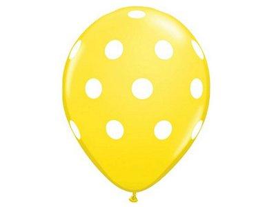 Balão nº11 Poá Amarelo/Branco 25 unids