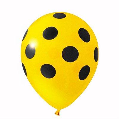 Balão nº11 Poá Amarelo/Preto 25 unids