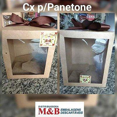 Caixa Panetone 1kg c/ visor 25 unids