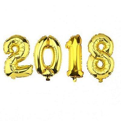 Balão metalizado 2018 ouro (35cm)