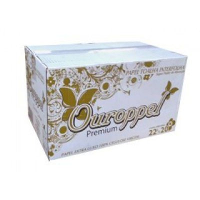 Toalha Interfolha Branca Ouroppel Folha Simples 2d (22x20) 2d 4800 fls