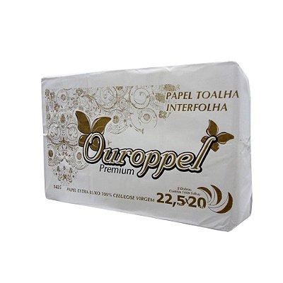 Toalha Interfolha Branca Ouroppel Folha Simples 2d (22,5x20) 1000 fls
