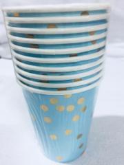 Copo Papel 270ml Confetes Dourados Azul Bebe 10 unids