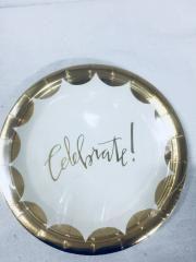 Prato Papel 18cm Celebrate Dourado 10 unids