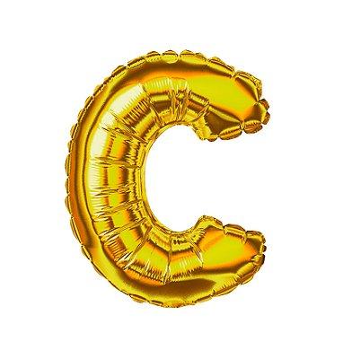 Balão Metalizado Letra C dourada unid