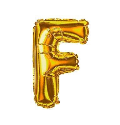 Balão Metalizado Letra F dourada unid