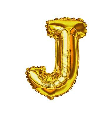 Balão Metalizado Letra J dourada unid