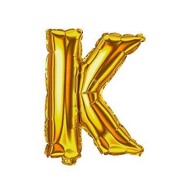 Balão Metalizado Letra K dourada unid