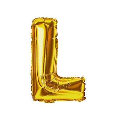 Balão Metalizado Letra L dourada unid