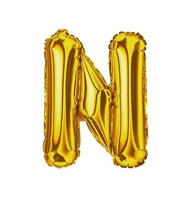 Balão Metalizado Letra N dourada unid