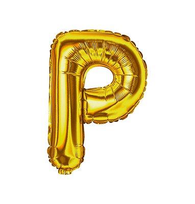 Balão Metalizado Letra P dourado unid