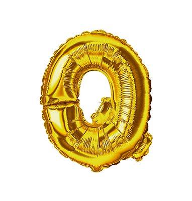 Balão Metalizado Letra Q dourada unid