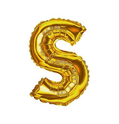 Balão Metalizado Letra S dourada unid