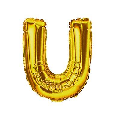 Balão Metalizado Letra U dourada unid