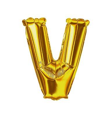 Balão Metalizado Letra V dourada unid