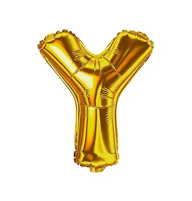 Balão Metalizado Letra Y dourada unid
