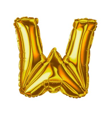 Balão Metalizado Letra W dourada unid