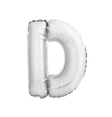 Balão Metalizado Letra D prata unid