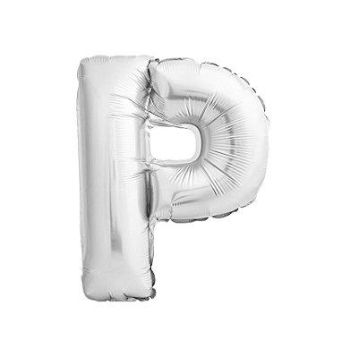 Balão Metalizado Letra P prata unid