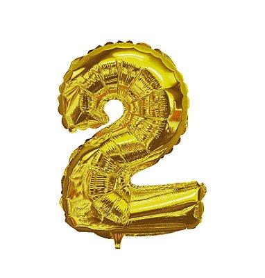 Balão Metalizado nº2 Dourado 1metro unid
